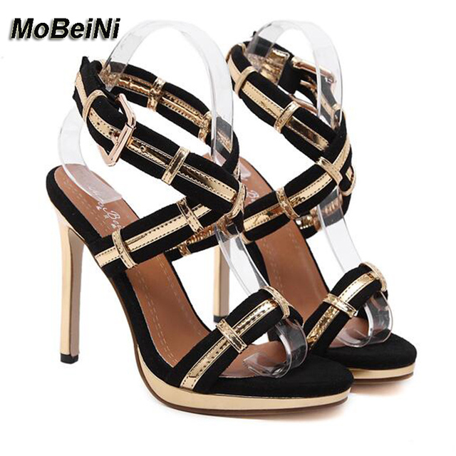 Big size 40 shows Beautiful foot high-heeled sandals sexy thin heel summer  ankle cross strap buckle party fashion women shoes d106d5acbf8f