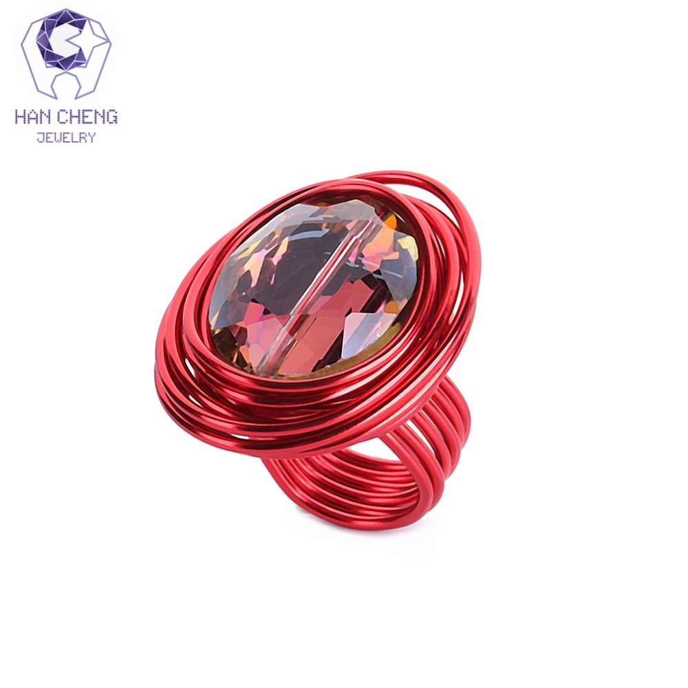 HanCheng Fashion Multi Color Black Wind Metal Wire Craft Big Oval Stone Handmade Ring Crystal Rings For Women Jewelry Gem Bijoux