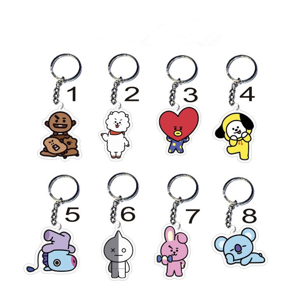 8 Style KPOP BTS Keyring BT21 Bangtan Boys Key Chain Love Yourself Acrylic J-HOPE V SUGA Men Women Female Keychain Gift