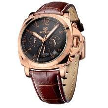 MEGIR Хронограф Функция мужские часы пояса из натуральной кожи шесть рук Роскошные брендовые Военная Униформа наручные