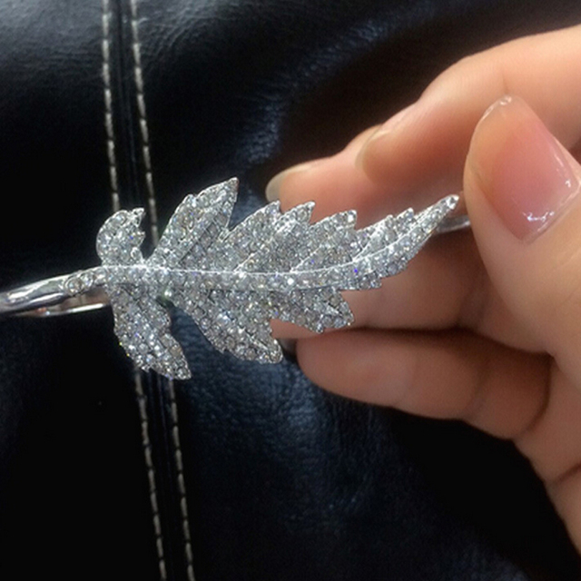 Full Rhinestones Leaf Palm Bangle for women Crystal bracelet personality wedding jewelry pulseira de palma