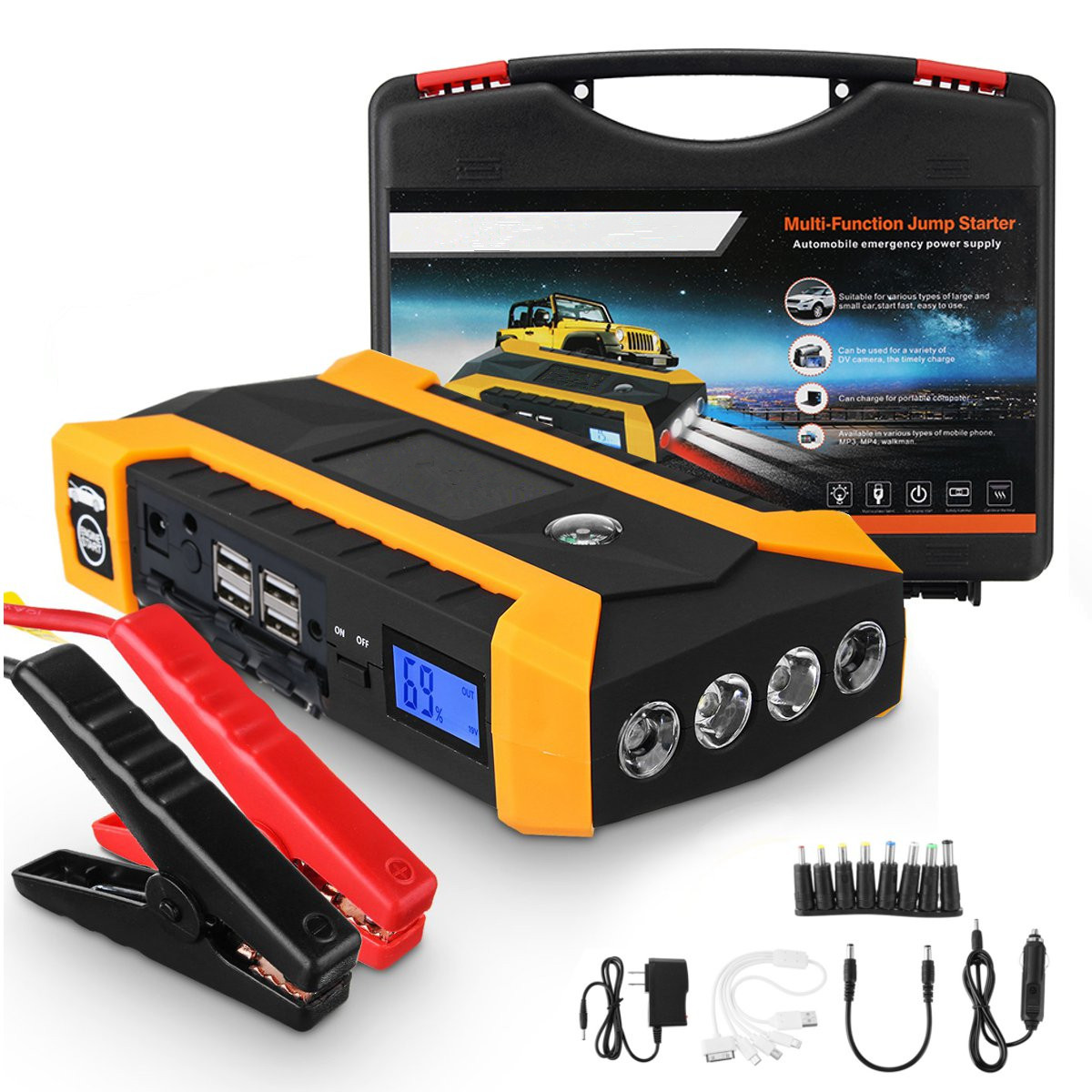 Multifunction Jump Starter 89800mAh 12V 4USB 600A Portable Car Battery Booster Charger Booster Power Bank Starting Device брюки утепленные детские huppa tevin 1 цвет серый 21770104 00048 размер 170
