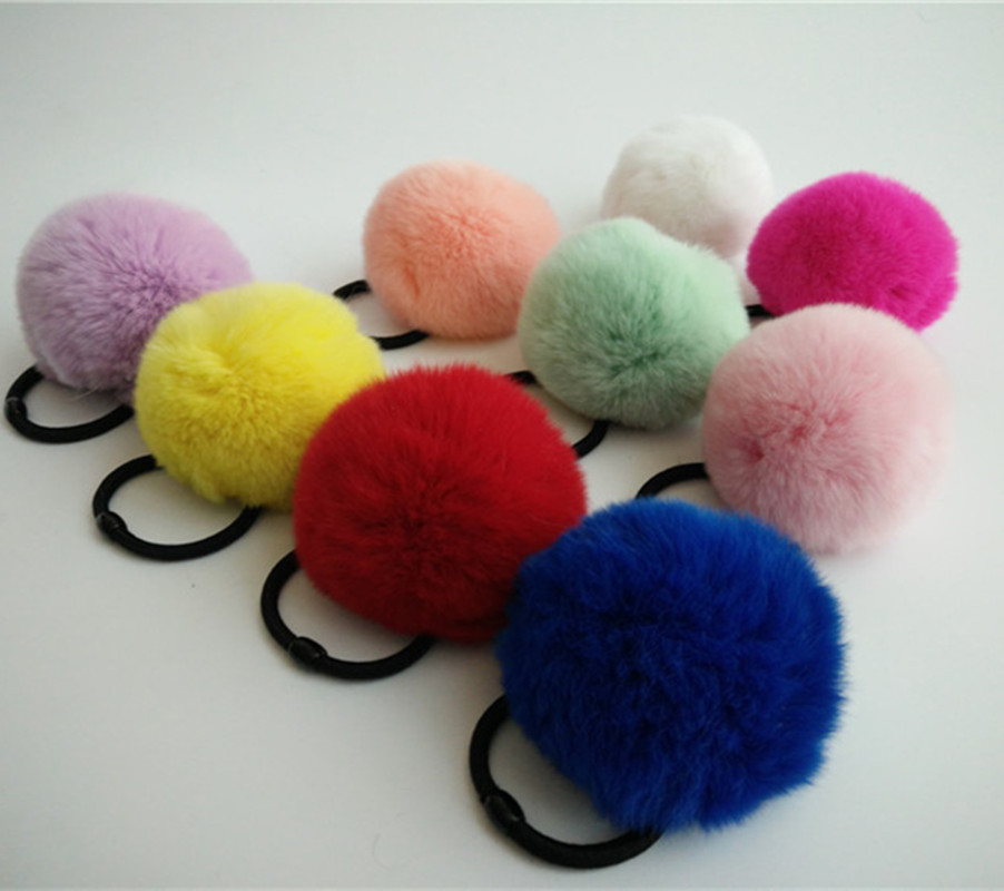 Real Rabbit Fur Cute Round Pom Ball Furry Rex rabbit fur ball Girl's Lovely Hair Ties Ropes Kids Accessories gift wholesale