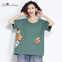BelineRosa 2017 Summer Top Female For Women Casual Character Printing Pocket Cotton Women S Shirt Fit