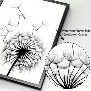 Image 4 - Feather Dandelion Magnolia Flower Wall Art Canvas Painting Nordic Posters And Prints Wall Pictures For Living Room Bedroom Decor