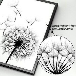 Image 4 - Feder Löwenzahn Magnolia Blume Wand Kunst Leinwand Malerei Nordic Poster Und Drucke Wand Bilder Für Wohnzimmer Schlafzimmer Dekor