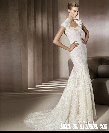 cap sleeve sweetheart sheath floor length lace wedding dress-in ...