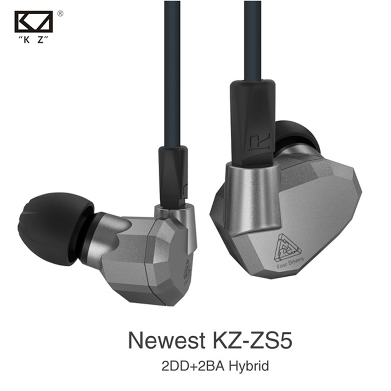 [Original] 2017 NEWEST KZ ZS5 Headset Music Earbud 2DD+2BA Hybrid In Ear Earphone HIFI DJ Monito Running Sport Earphones Earplug original senfer dt2 ie800 dynamic with 2ba hybrid drive in ear earphone ceramic hifi earphone earbuds with mmcx interface