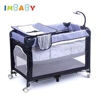 IMBABY детские кроватки кроватку для новорожденных с пеленки Пеленальный столик детские игры качалка кровать ребенка гнездо с тележкой детск