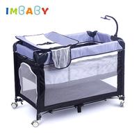 IMBABY Baby Cribs Cot For Newborns With Diaper Changing Table Baby Game Rocking Bed Baby Nest With Trolley Kids Children's Bed