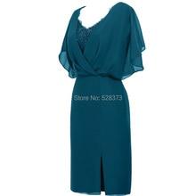 YNQNFS MD34 оболочка Teal/темно-синий/бордовый Цвет шифон V Шея короткая мать невесты платья наряды реальные фотографии
