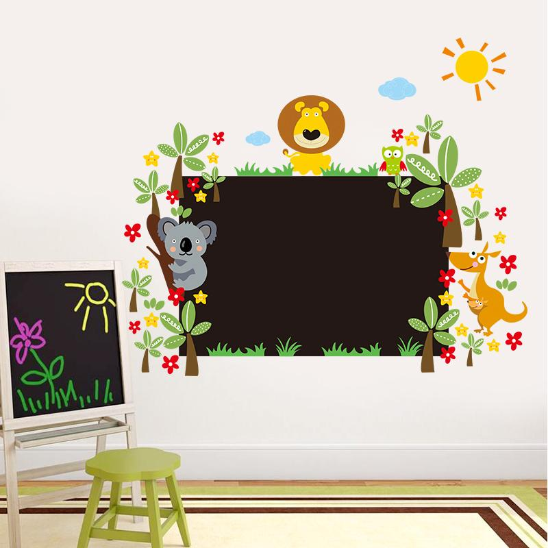 Study With Lovely Animals Chalkboard Stickers Room Decor Kids Gift Diy Home Decals Nursery Cartoon Wall Art Peel and Stick
