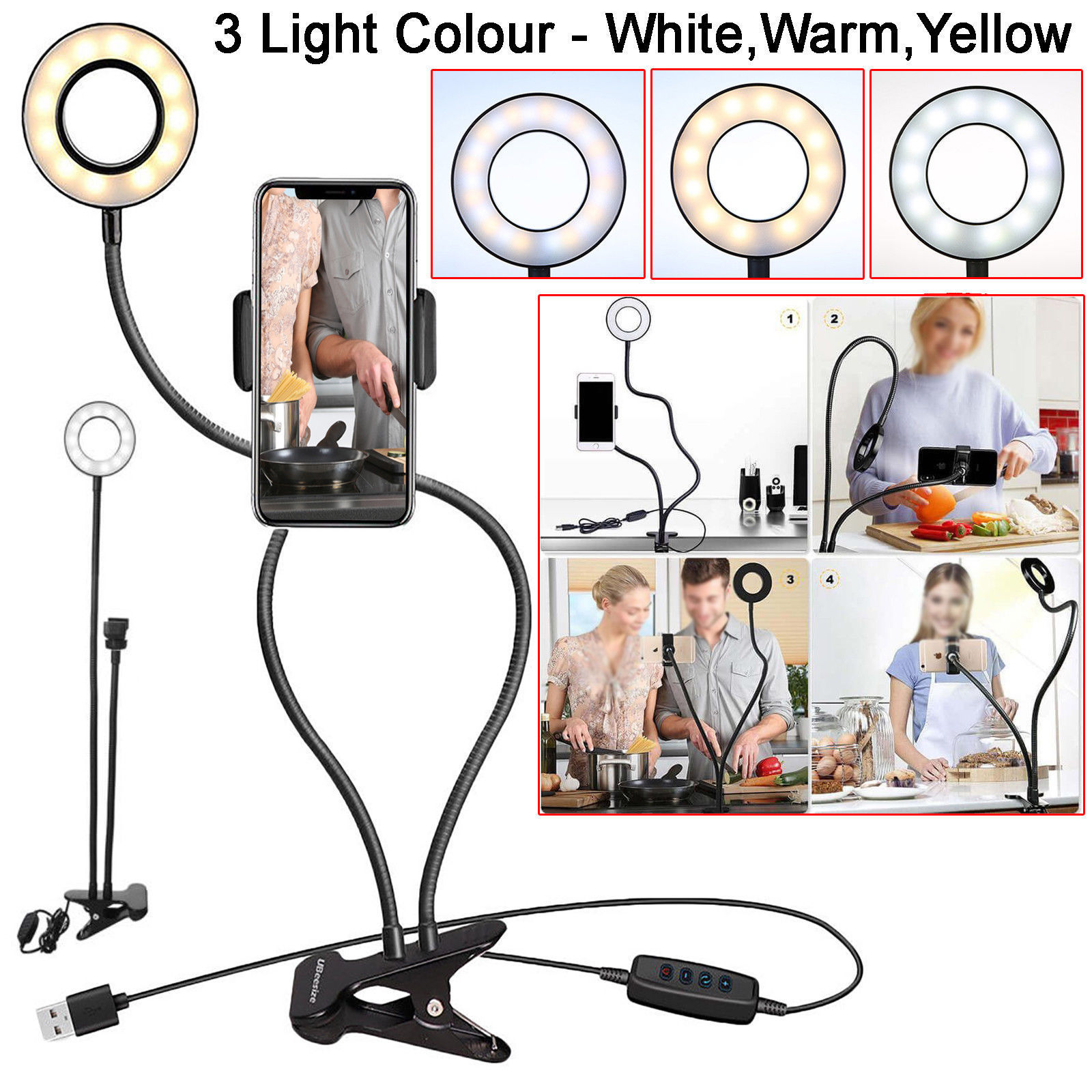 Selfie Flash Ring Light + Mobile Phone Holder 24 LED Camera Long Arm USB Clip On  USB10-Level Brightness