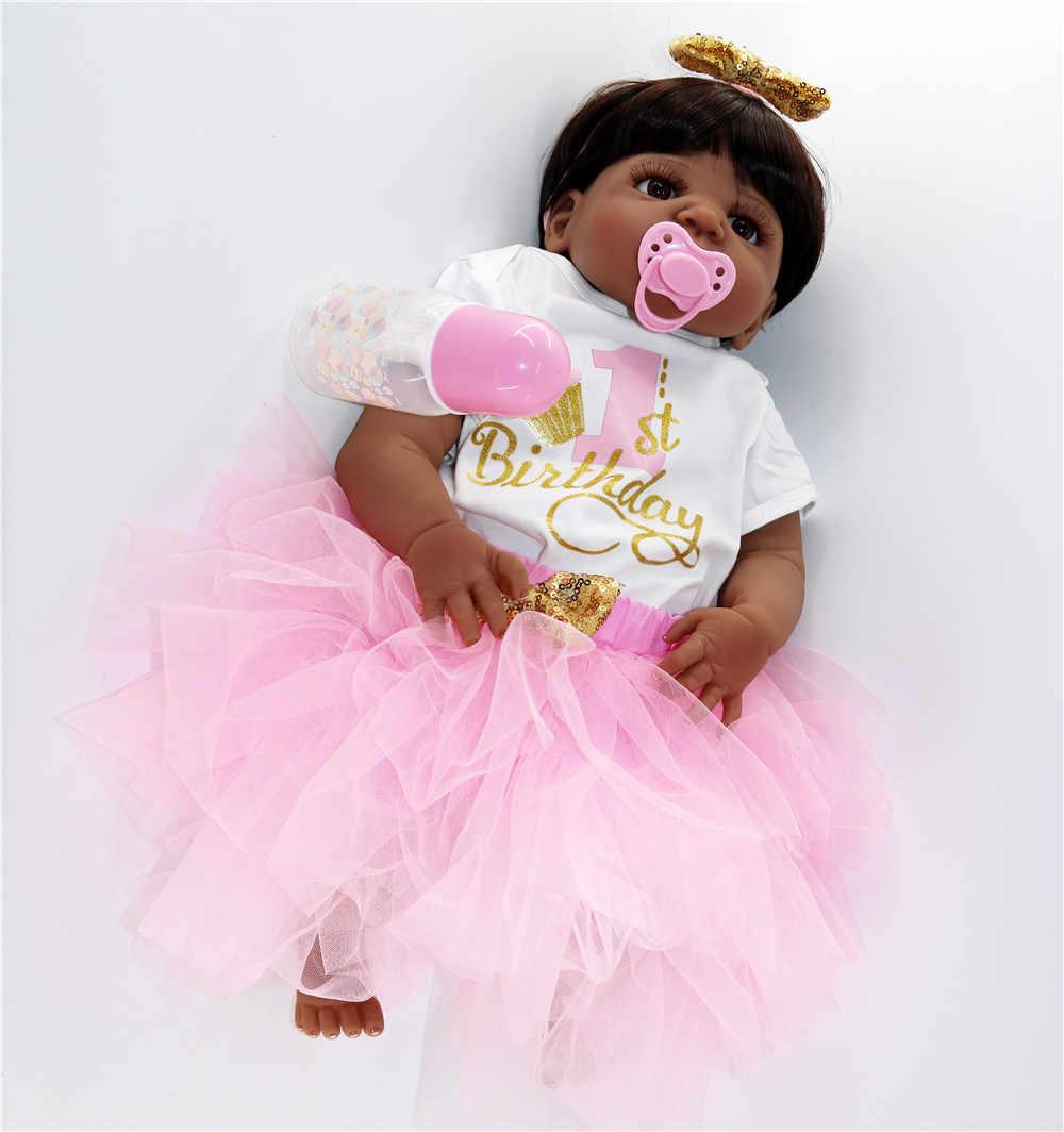 Настоящее 57 см всего тела силиконовые девушки Reborn кукла игрушка ванны черная кожа lol Куклы детки Bonecas Bebes reborn малыша