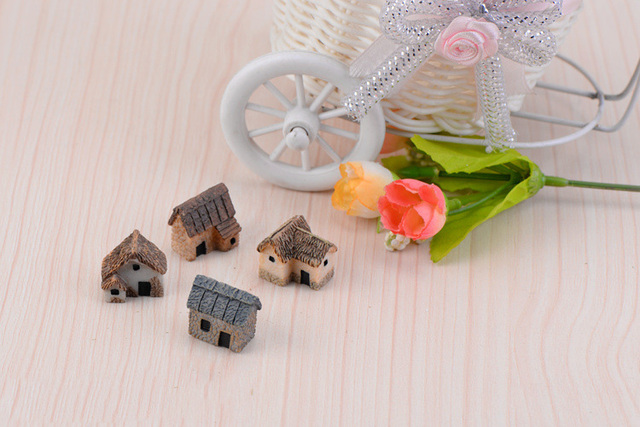House Figurine resin craft home decor miniature fairy garden Car decoration accessories modern Cartoon Animal Building statue 5