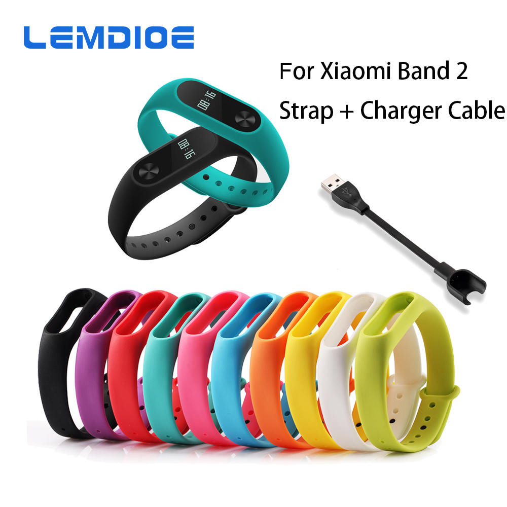 LEMDIOE Replace Strap + Charger Cable for Xiaomi Mi Band 2