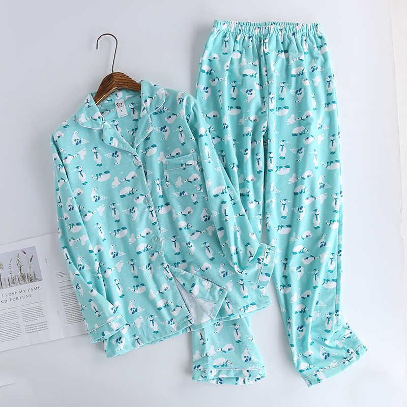 Милый мультфильм, Корея 100% хлопок пижамы, женские пижамы комплекты осень 100% из ворсованного хлопка зимние теплые женские Пижама для сна Mujer