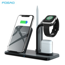 10W Wireless Charger Stand 3 in 1 Qi Fast Charging For Airpods iPhone XS XR X 8 Samsung S10 S9 Pencil Holder for Apple Watch 4 3 carprie qi fast 3 ports wireless charger holder stand charging dock for iphone x apple pencil airpods 20a drop shipping