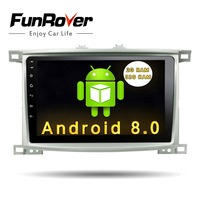 Funrover Android 8.0 10.1 inch Car DVD Player for Toyota LC 100 Land Cruiser 100 1998 2006 Car Radio steering wheel control RDS