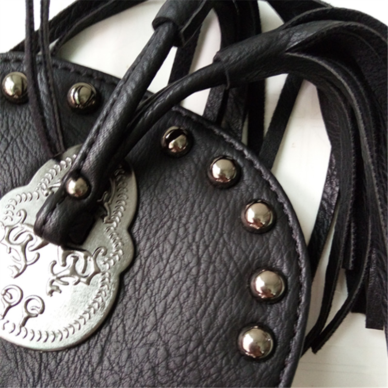 women black tassel bag classic flap bag PU leather small shoulder crossbody bags for women Rivets Skull clutch handbag