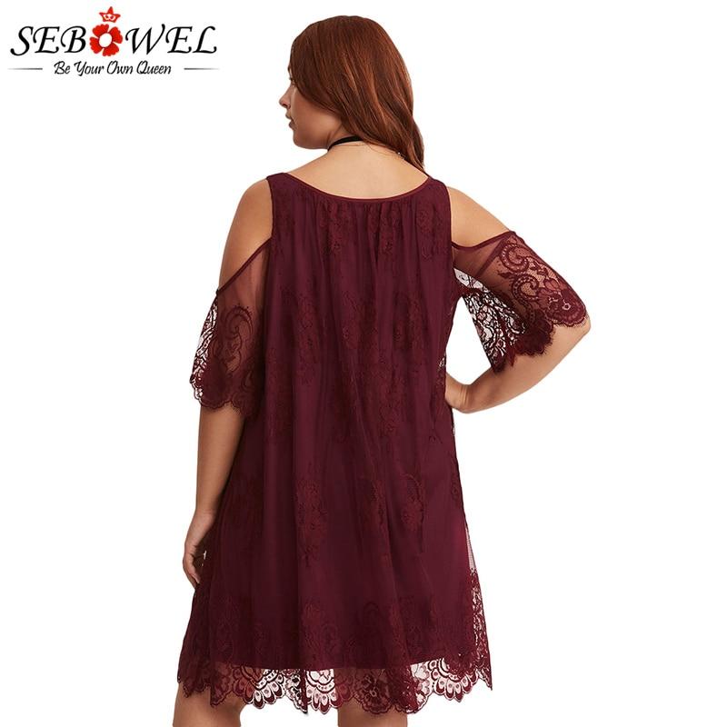 Burgundy-Plus-Size-Lace-Cold-Shoulder-Trapeze-Dress-LC220363-3-3