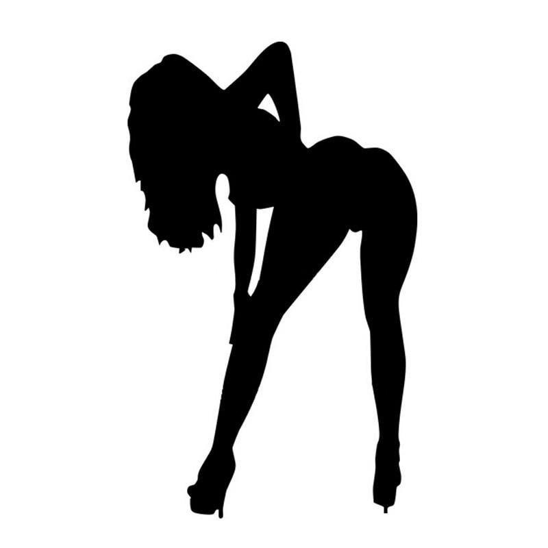 9*15CM Sexy Girls Tease Temptation Car Sticker Decal Decoration Car Styling Black Silver C2-0251