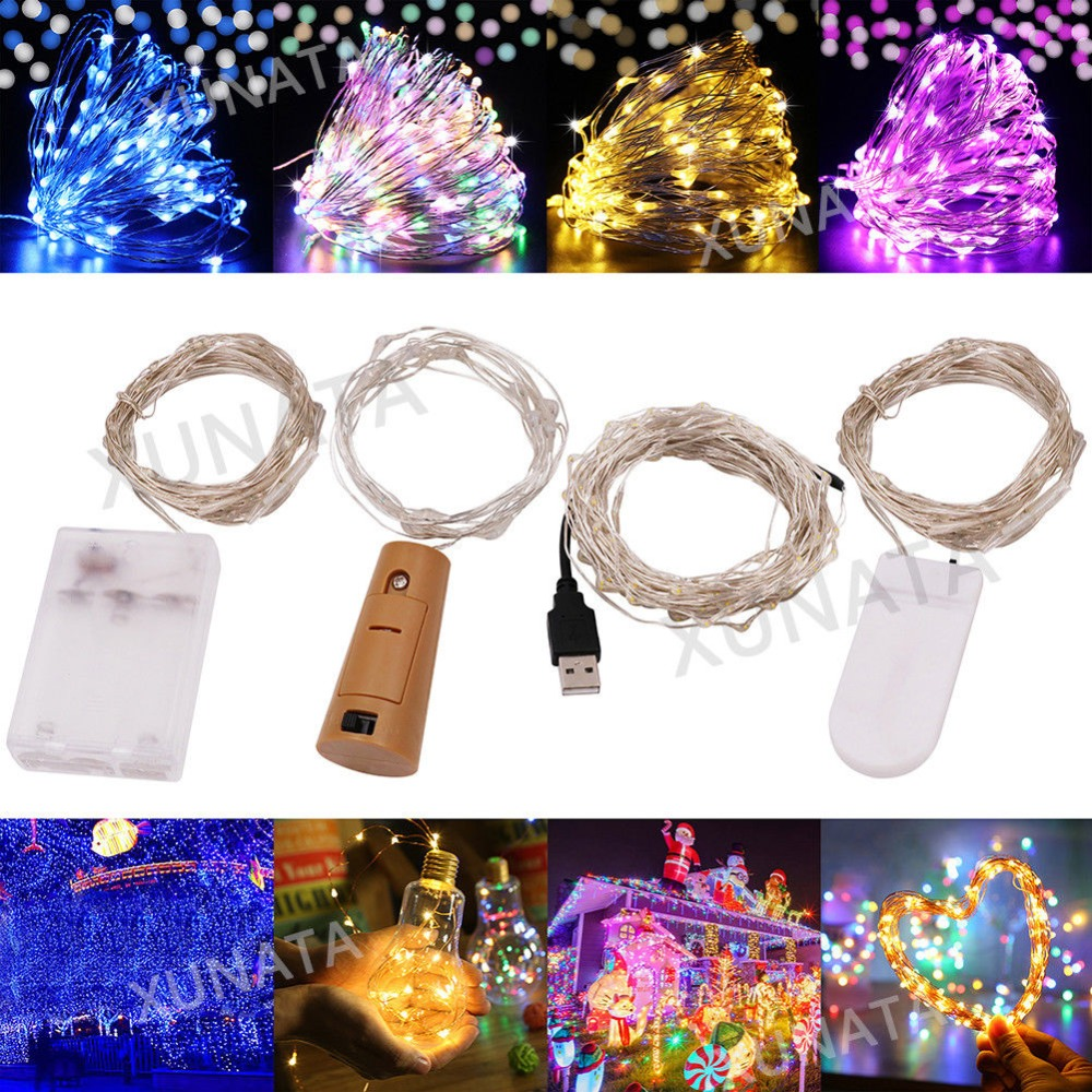 10M 5M Button AA <font><b>Battery</b></font> USB <font><b>Operated</b></font> <font><b>LED</b></font> String Lights Fairy bulb for Christmas Xmas Garland Party Wedding Decoration ourdoor image