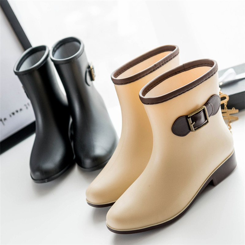 ФОТО Fashion Bowtie 2016 waterproof Rain Boots Shoes For Women Outdoor Mid-Calf Boots Shoes For Women Rain Boots