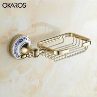 OKAROS Soap Dish Holder Gold Stainless Steel with Ceramic Decoration Soap Basket Soap Rack Soap Case Box Bathroom Accessories