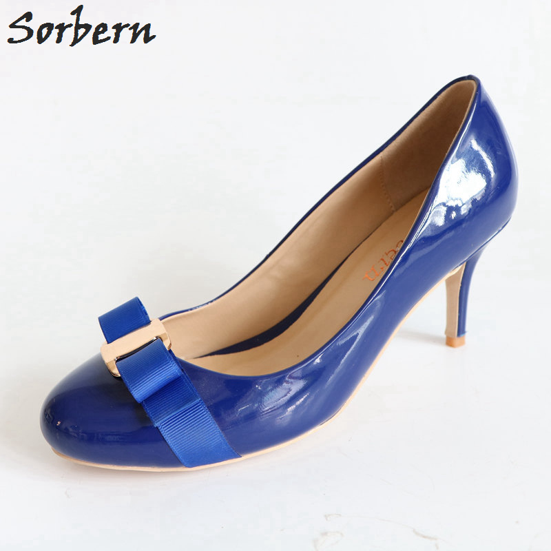 Sorbern Blue Patent Leather Round Toe Women Pumps Low Heels Bowknot Front Slip-on Ladies Pump Shoes OL Pump Spring Style ladylike women s pumps with round toe and bowknot design