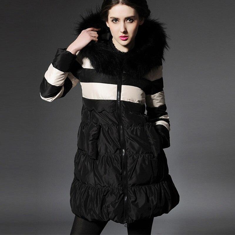 Luxury Women Hooded Coat with Real Raccoon Fur Collor Winter Down Coats 2017 Womens Long Cape Jacket Ladies Duck Black Jackets