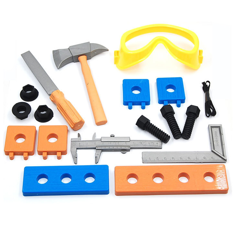 1Set Kids Early Educational simulation plastic tool toy hammer kit axe/hammer/ wood/screws/patch kids Plastic Safe Tools Toy