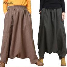 SHUJIN 2019 Pantaloni stile harem Delle Donne Primavera Casual di Lino  Larghi Gonne e Pantaloni Solido b3c9b06840f5