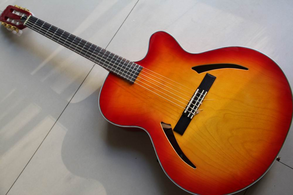 New Arrival Cnbald 6 String classic acoustic electric guitar top quality in Cherry Sunburst 130116 professional solid top 12 string acoustic electric guitar with turner