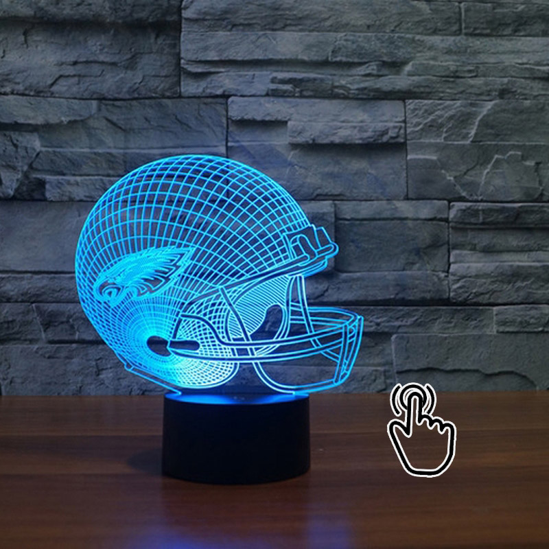3D LED NFL Philadelphia Eagles Football Helmet Illusion USB LED Night Light 7 Color Changing Lamps free shipping 7 color changing glowing cartoon spongebob patrick star acrylic 3d led night light usb 3d led table lamps