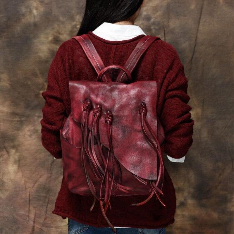 100% Genuine Vegetable Tanned Leather Backpacks Genuine Leather Vintage Tassel Backpack Female Fashion Travel Backpack Hot Sale