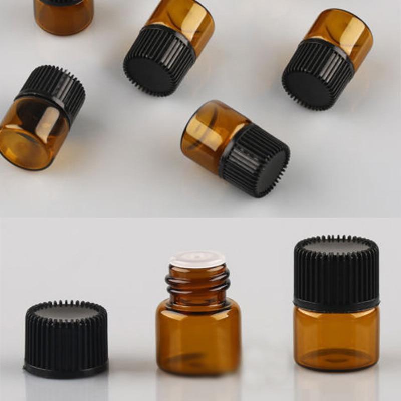 100pcs Amber Glass Bottle Empty For Essential Oil Bottle Glass Bottles For Oil Perfume 1ml Mini Refillable Bottles