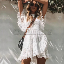 Cuerly Sexy white lace ruffle short dress women Summer elegant party bow female vestidos Casual daily cute dresses L5