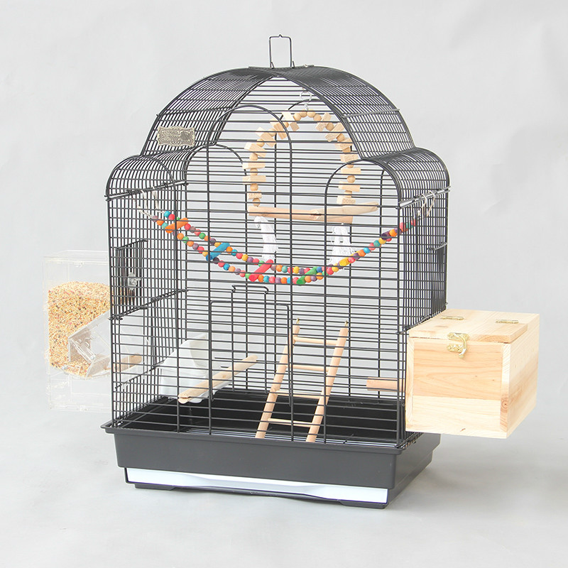 Black luxury large bird cage Xuanfeng tiger parrot cage starling cage large metal peony breeding cage ZP12291855-in Bird Cages & Nests from Home & Garden    1