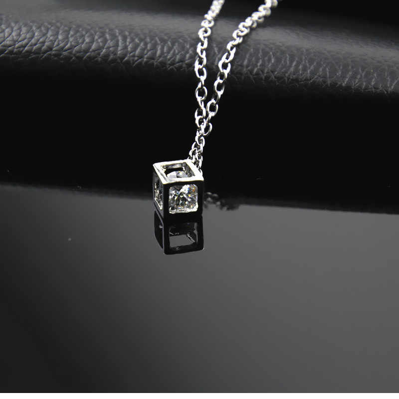 Simple Style Cubic Zirconia Necklaces &Pendants Silver Color Fashion Jewelry For Women Chain Accessiories  X259