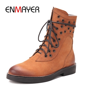 ENMAYER Women Ankle boots Short boots Size 34-39 Causal round toe lady boots female lace up boots ZYL899
