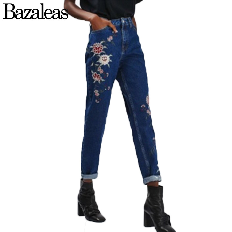 Bazaleas 2017 Pockets Straight Jeans Flower Embroidery Jeans Female Deep Blue Casual Pants Capris Women Bottom flower embroidery jeans female blue casual pants capris 2017 spring summer pockets straight jeans women bottom a46