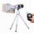 Clips de Teléfono Universal Kit de Lentes Telefoto 12x Lente Zoom Telescopio Con trípode para iphone 6 6 s 7 móvil xiaomi samsung s6 s7 s5