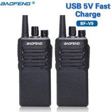 Baofeng mini Walkie Talkie BF V9 de carga rápida, USB, 5V, UHF 400 470MHz, hasta BF 888S bf888s, Radio bidireccional Ham, 2 uds.