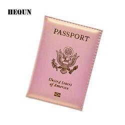 Hequn моды США Обложка для паспорта розовый Для женщин милый Америки Эмблема Путешествия Обложка для паспорта бренд Обувь для девочек мягкая