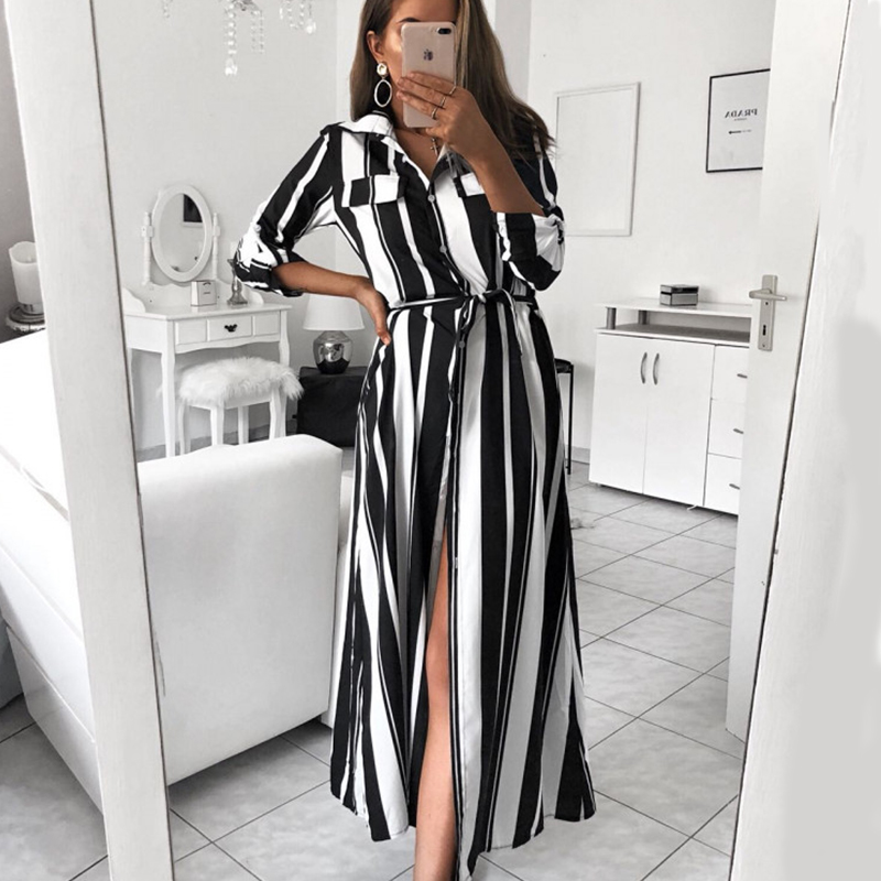 Bohemia Style Summer Dress 2019 Black White Stripe Turn-Down Collar Button Long Shirt Sleeve Beach