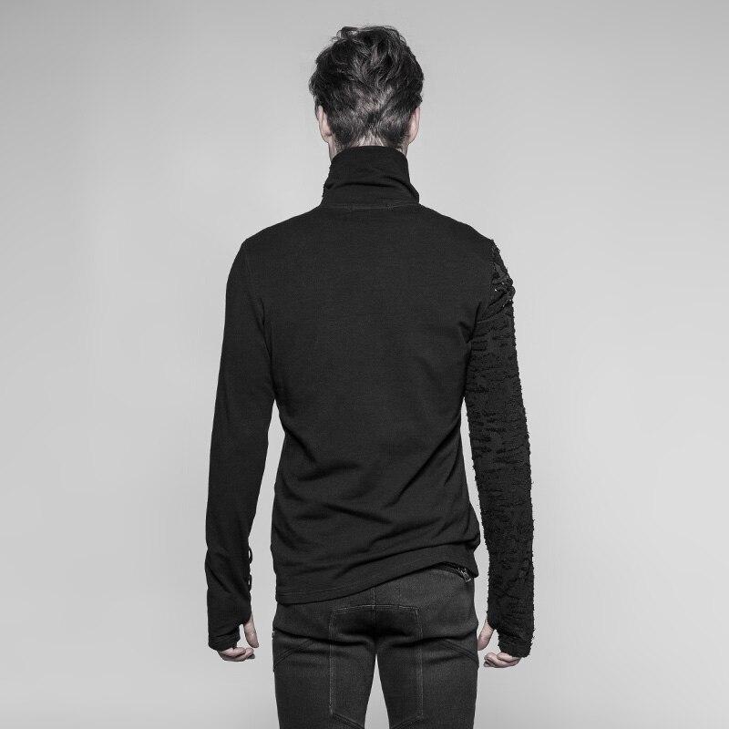 PUNK RAVE New Punk High Collar Comfortable T Shirt Rock Gothic Personality Casual Men S Shaped Long Zipper Cool Street Shirt - 2