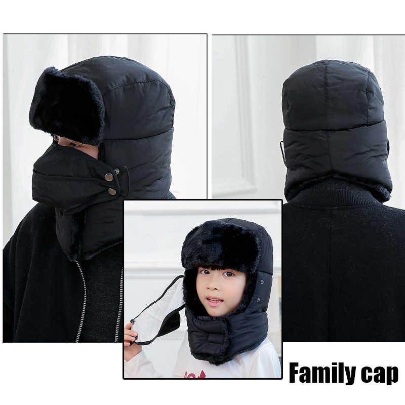 2c49e325536 ... Winter Bomber Hats Kids Trapper Trooper Russian Badge Earflap Balaclava  Face Mask Girls Boys Family capSnow ...
