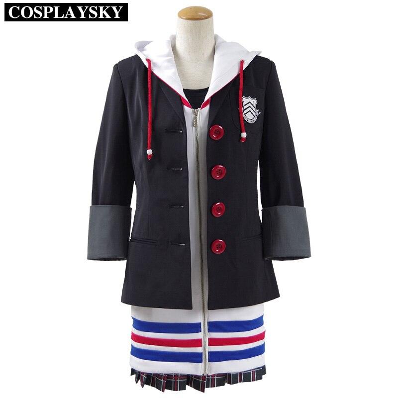 ペルソナ5アンtakamakiコスプレ衣装新しい学校制服ハロウィンコートdressシャツスカートフルセット