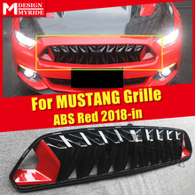 Front Bumper Grille grill For Ford MUSTANG ABS black & Red For Mustang Front Bumper Kidney Grills upgrade 1:1 Replacement 2018+ for 02 05 dodge ram black sport billet front hood bumper grill grille frame abs usa domestic free shipping hot selling page 7 page 4